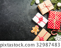 Christmas background with decorations 32987483