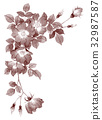 ซีเปียวัสดุกรอบบนของดอกกุหลาบบานเดียว 32987587