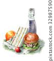 햄버거와 샌드위치 런치 세트 32987590
