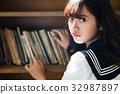 high school girl, library room, turn around 32987897