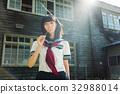 高中女生 水手服 木製校舍 32988014