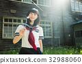 高中女生 水手服 庭院 32988060