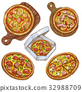 Set of vector illustrations whole pizza and slice 32988709