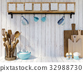 Kitchen utensils on white wood background  32988730