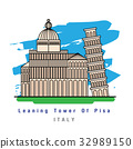 Illustrator of Leaning tower of pisa Italy. Vector 32989150