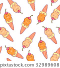 Seamless pattern with doodle ice cream 32989608