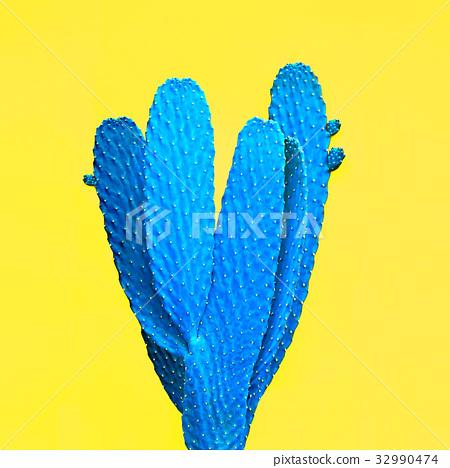 Blue Cactus. Art Gallery Fashion Design. Minimal 32990474