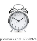 Old chrome fashioned alarm clock isolated 32990926