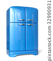 Blue retro fridge refrigerator 32990931