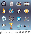 Auto Racing Icons Set 32991593