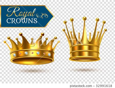 Realistic Gold Crowns Transparent Set  32991618