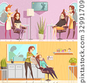 Hair Salon Horizontal Cartoon Banners  32991709