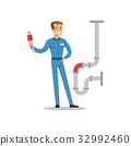 Proffesional plumber man character with monkey 32992460