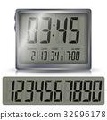 Alarm Digital Clock Vector. Black Numbers 32996178