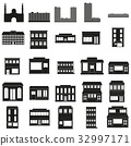Black Buildings Vector web icons set. 32997171