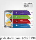 Hourglass symbol chart infographic element. 32997398