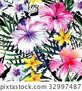 aquarelle, floral, hibiscus 32997487