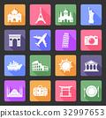 Travel and landmarks flat icons 32997653