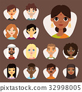 Set of diverse round avatars with facial features 32998005