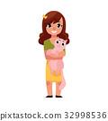 Little girl, child kid standing, holding a cat 32998536
