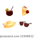 Straw hat, sunglasses, ice cream, coconut cocktail 32998632