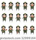 Set of flat firemen cartoon character icons 32999164