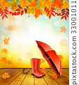 Nature autumn background with colorful leaves  33001011
