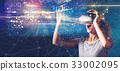 Graph with young woman with VR 33002095