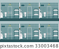 Rows of prison cells. 33003468