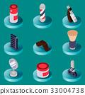 Barber shop flat isometric set 33004738