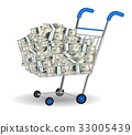 pile of dollar banknotes in a shopping cart 33005439