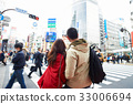 A couple is taking selfie on a crowded street 33006694