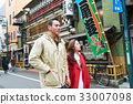 a couple is going sightseeing on the street 33007098