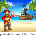 Pirate Cartoon Character on Beach 33007247