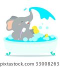 Happy elephant cartoon take a bath in tub vector. 33008263