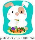 Rabbit cartoon eating vegetable vector. 33008264
