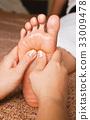 reflexology foot massage, spa foot treatment 33009478