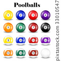 set of real pool balls on a white background 33010547