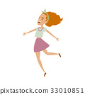 Vector young woman in skirt funny dances isolated 33010851