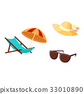 lounge chair, beach umbrella, straw hat sunglasses 33010890
