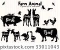Farm Animals Silhouettes Isolated  33011043