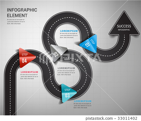 Road arrow timeline way to success. 33011402
