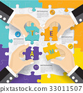 Teamwork connection puzzle  infographic design. 33011507