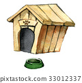 watercolor sketch of dog house with dish for dog  33012337