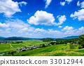 Rural landscape summer blue sky 33012944