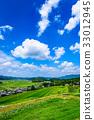 Rural landscape summer blue sky 33012945