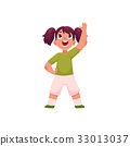 Little girl with ponytails doing morning exercises 33013037