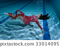 Woman's dress flutters under the water. 33014095