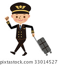 Pilot with a suitcase and leaving for the flight 33014527