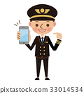 Pilot pointing and explaining a smartphone 33014534